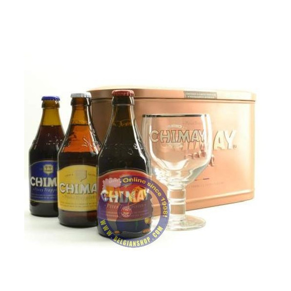 Buy-Achat-Purchase - Chimay Pack Metal 3x33cl+1glass - Beers Gifts -
