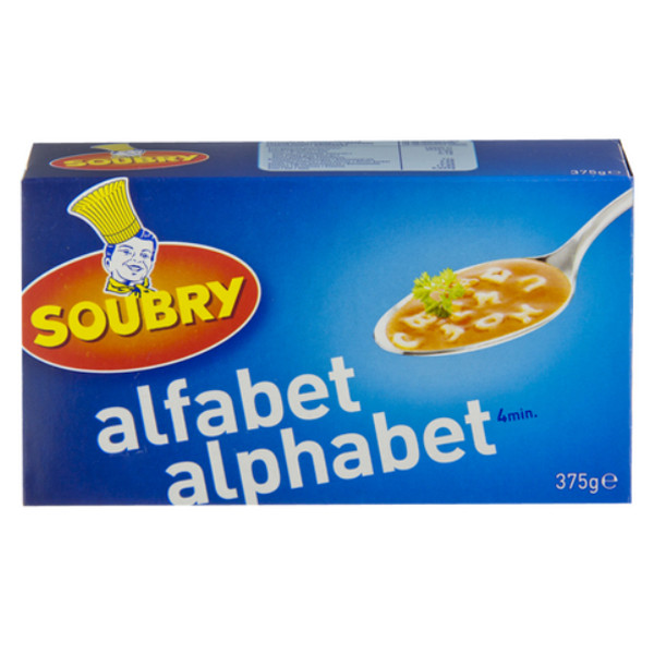 Buy-Achat-Purchase - Soubry Pasta Alphabet 375g - Belgian Pasta - Soubry