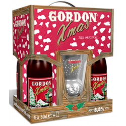 Gordon Christmas Giftpack 4x33cl + 1glass - Beers Gifts -