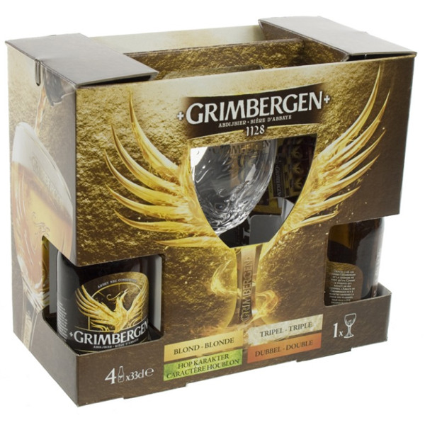 Buy-Achat-Purchase - Grimbergen Gift Pack 4x33cl & 1 glass - Beers Gifts -