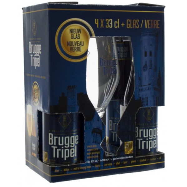 Buy-Achat-Purchase - Brugge Tripel Giftpack 4x33cl + 1 glass - Beers Gifts -
